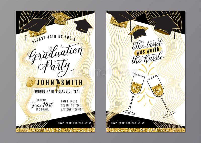 Graduation party class of 2018 vertical invitation card stock vector download graduation party class of 2018 vertical invitation card stock vector illustration of black filmwisefo