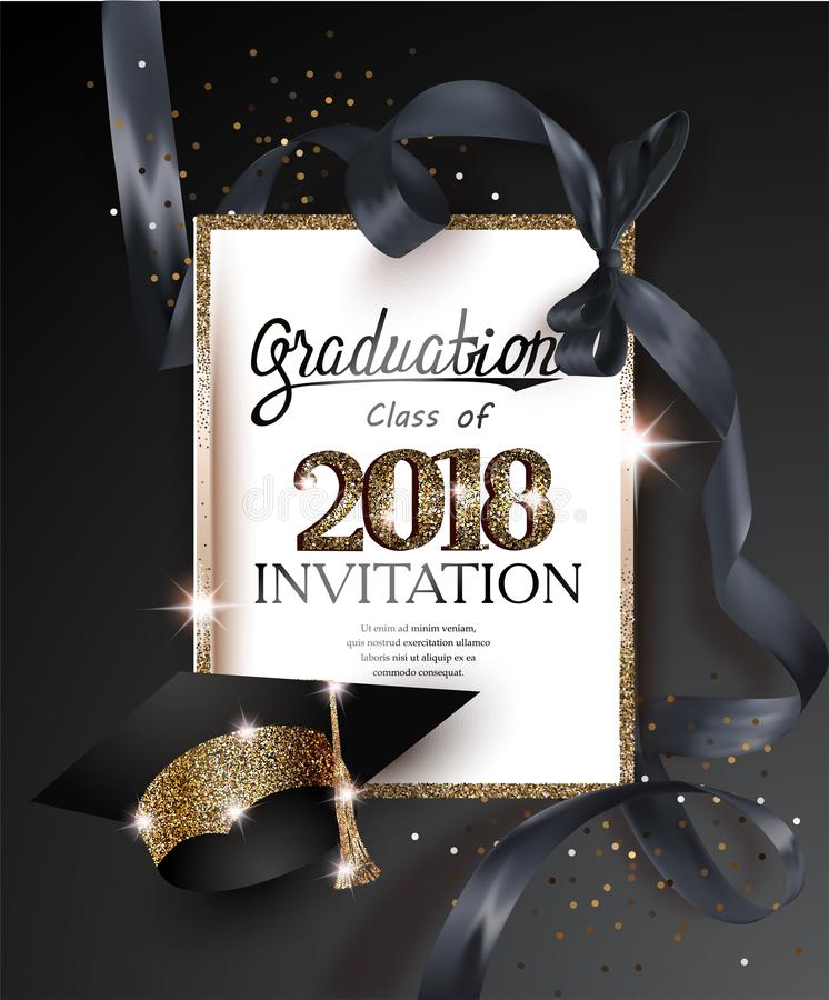 Graduation 2018 party invitation card with hat and long black silk ribbon. Vector illustration vector illustration