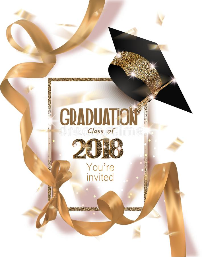 Graduation 2018 Party Invitation Card With Hat And Long Gold Silk