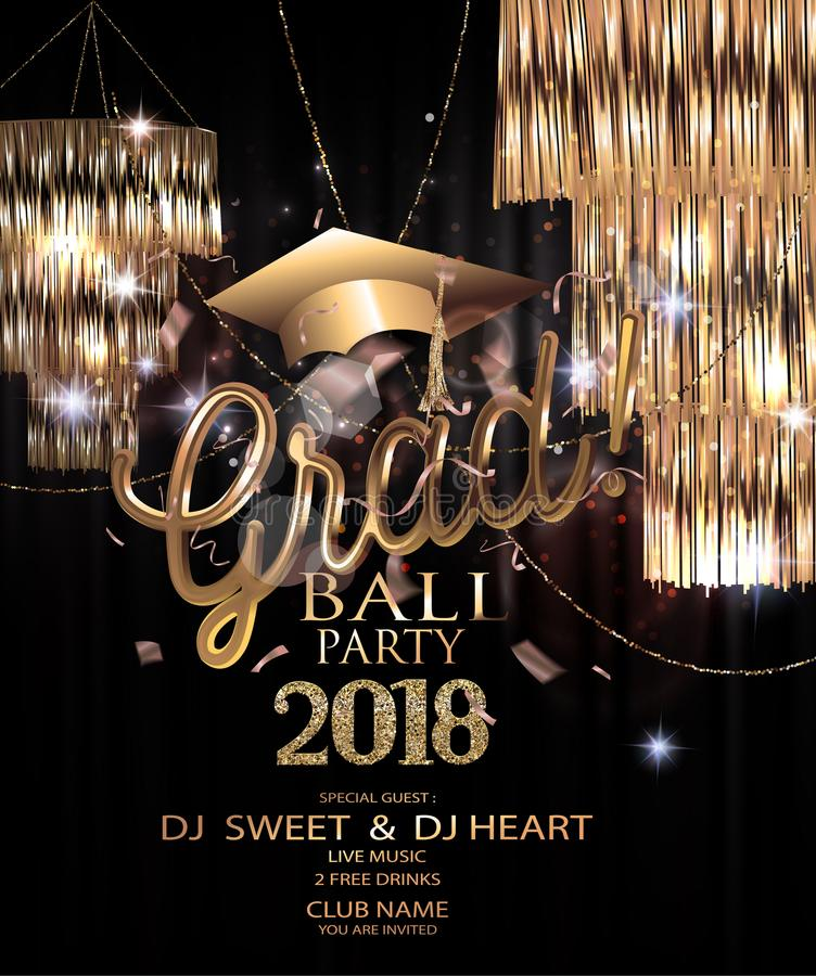 Graduation party 2018 invitation card with sparkling hanging lamps, confetti and garlands. royalty free illustration
