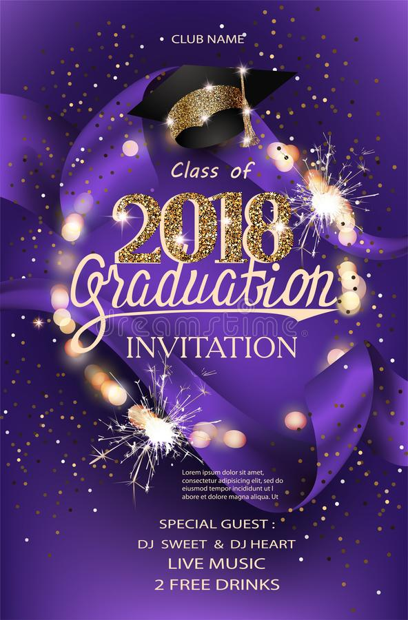 Graduation 2018 party invitation purple card with hat, bokeh frame with sparklers and silk ribbon. stock illustration