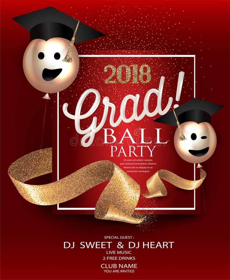 Graduation party red card with gold sparkling ribbons and air balloons. Vector illustration royalty free illustration