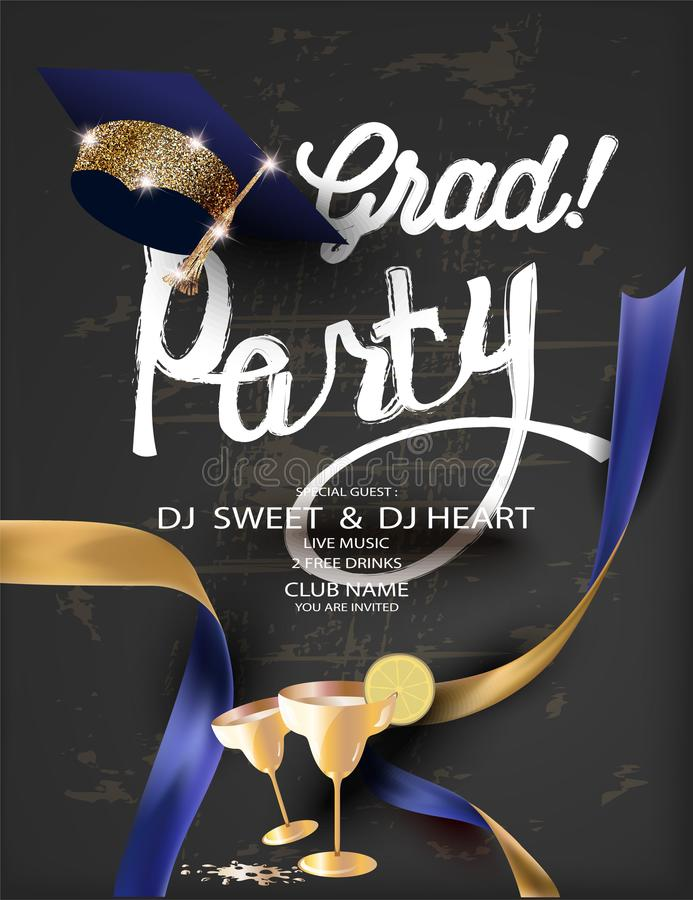 Graduation partybanner with golden deco objects and sparkler frame. royalty free illustration