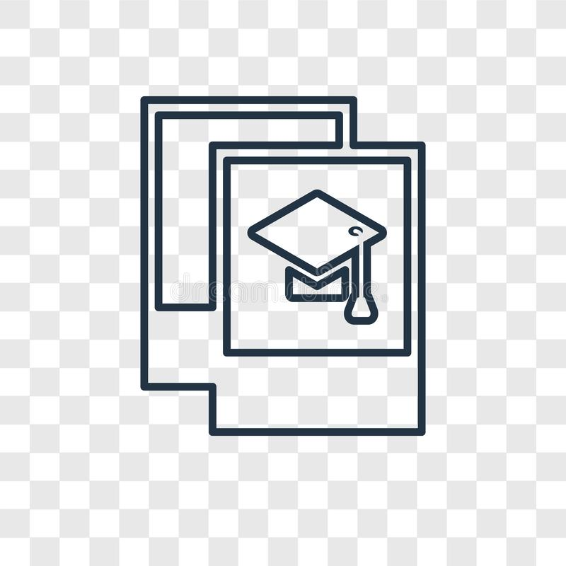 Graduation Pictures concept vector linear icon isolated on trans stock illustration
