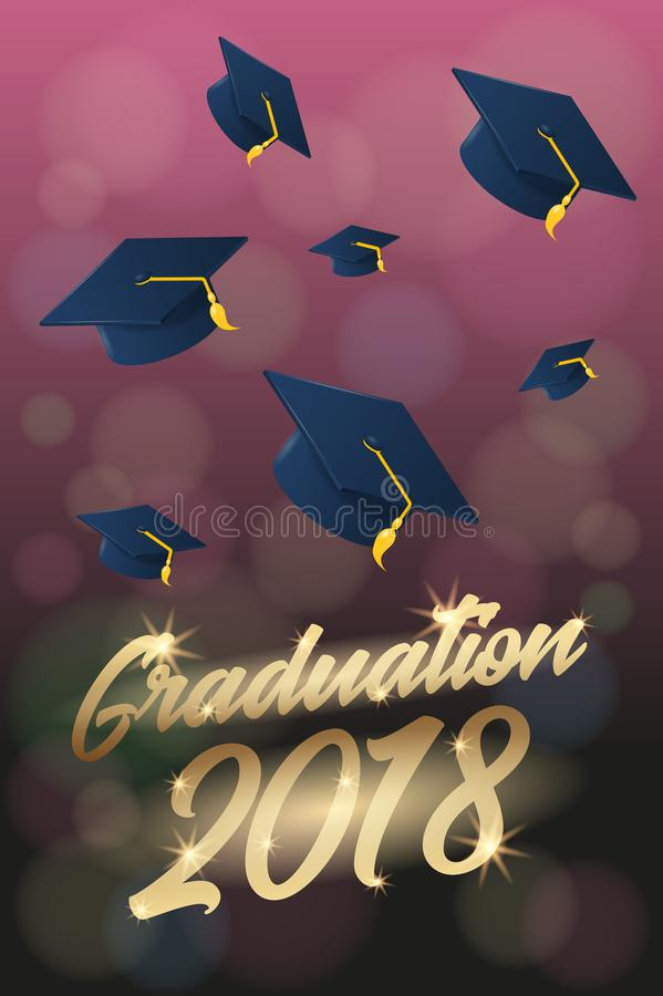 Graduation  Poster Or Flyer Template With Hat Or Mortar Board