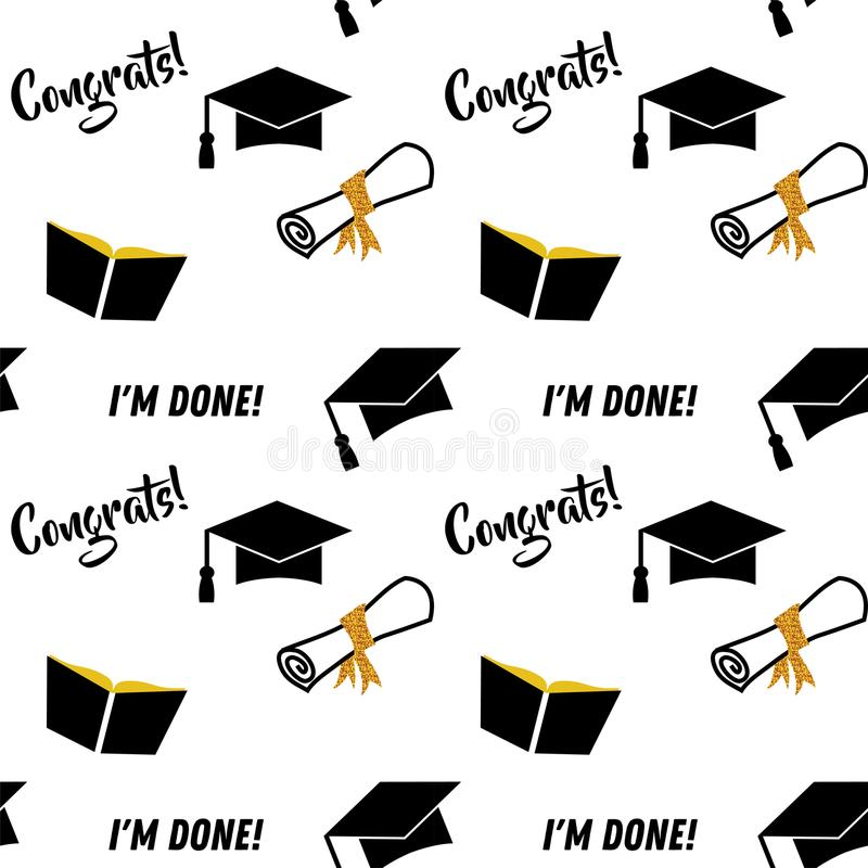 Graduation seamless pattern. Black and golden vector background for graduation party or ceremony invitation, greeting stock illustration