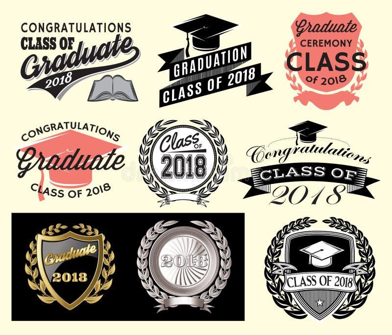 Graduation sector set Class of 2018 Congrats grad Congratulations Graduate royalty free illustration