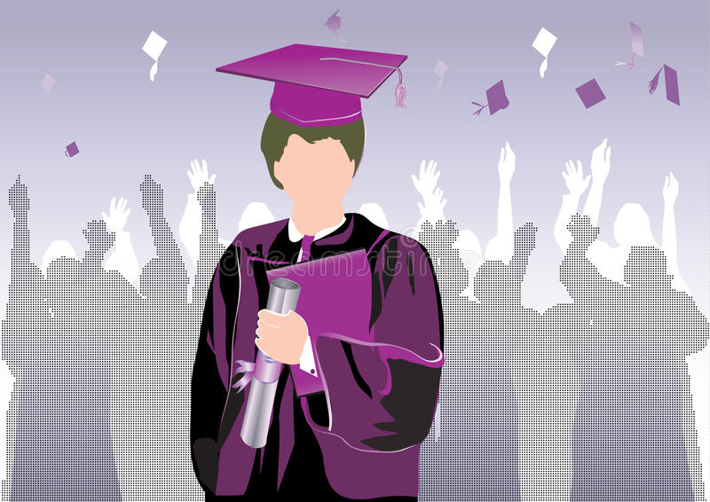 Download Graduation in silhouette stock illustration. Illustration of academic - 13804698