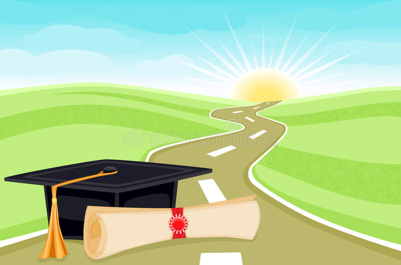 Graduation start to a bright future royalty free illustration