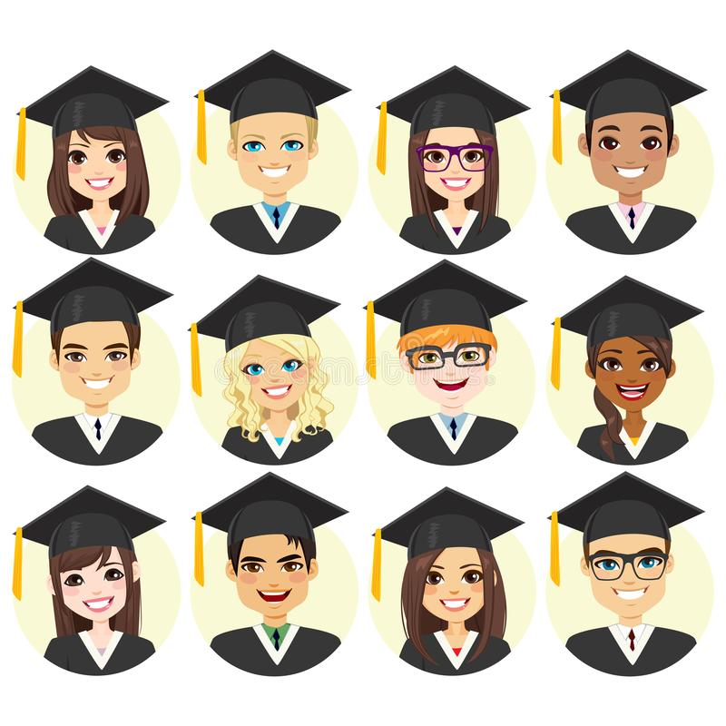 Graduation Student Avatar Collection royalty free illustration