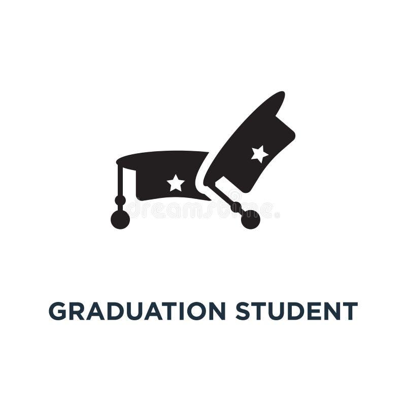 Graduation student black cap icon. Simple element illustration royalty free illustration