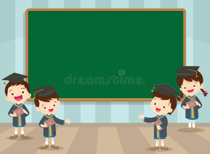 Graduation students and chalkboard stock illustration
