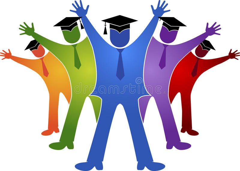 Graduation students. Illustration art of a graduation students with isolated background vector illustration