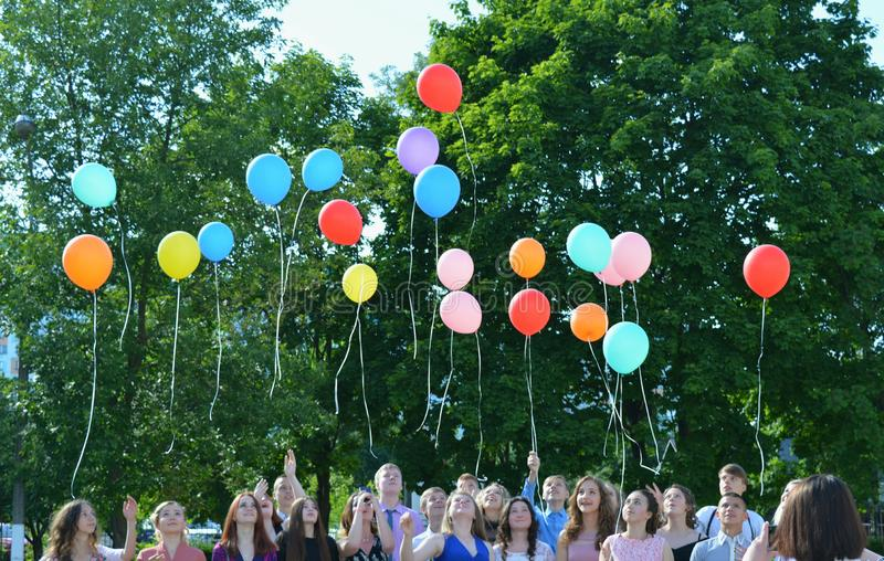 Graduation students city of Minsk with balloons stock images