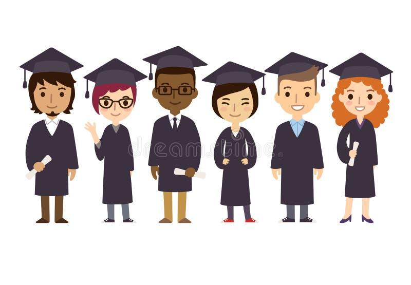 Graduation students royalty free illustration