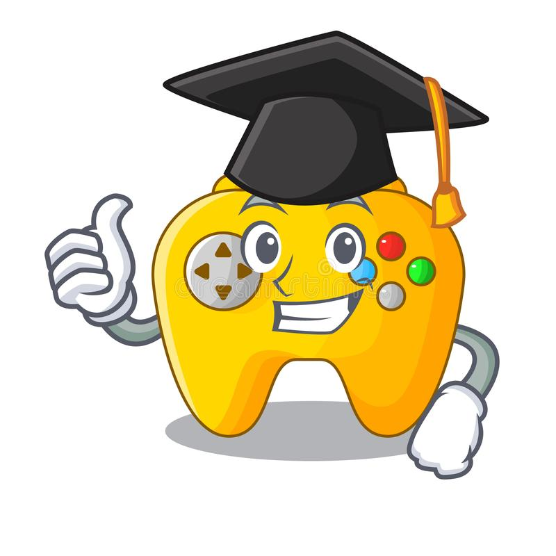 Graduation Video game controller shaped on charcter stock illustration
