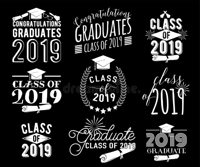 Graduation wishes monochrome overlays, lettering labels design set. Retro graduate class of 2019 badges. Hand drawn. Emblem with sunburst, hat, diploma, bell stock illustration