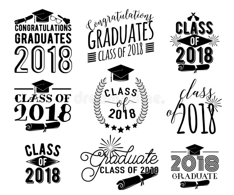 Graduation wishes overlays labels set. Monochrome graduate class of 2018 badges royalty free illustration