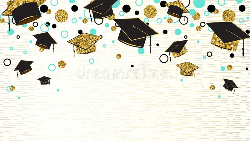 Graduation word with graduate cap, black and gold color, glitter dots on a white background. Congratulation graduates vector illustration