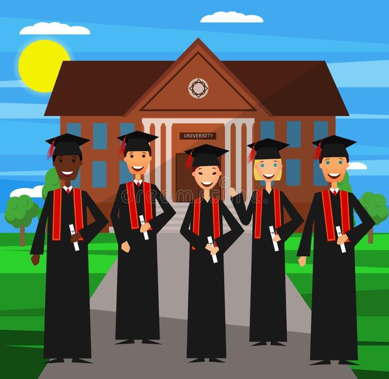 Graduazione dell'università Vettore Progettazione piana fotografia stock