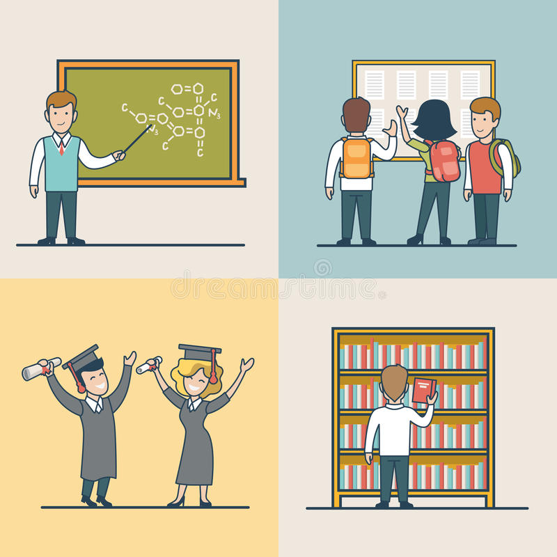 Graduazione piana lineare di studio dell'oggetto dell'università royalty illustrazione gratis