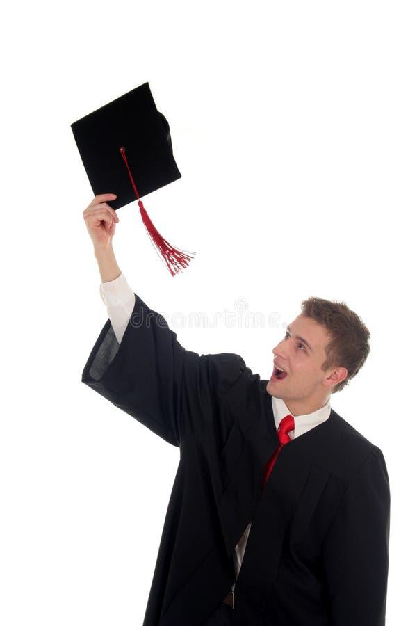 Graduieren des männlichen Kursteilnehmers lizenzfreies stockfoto