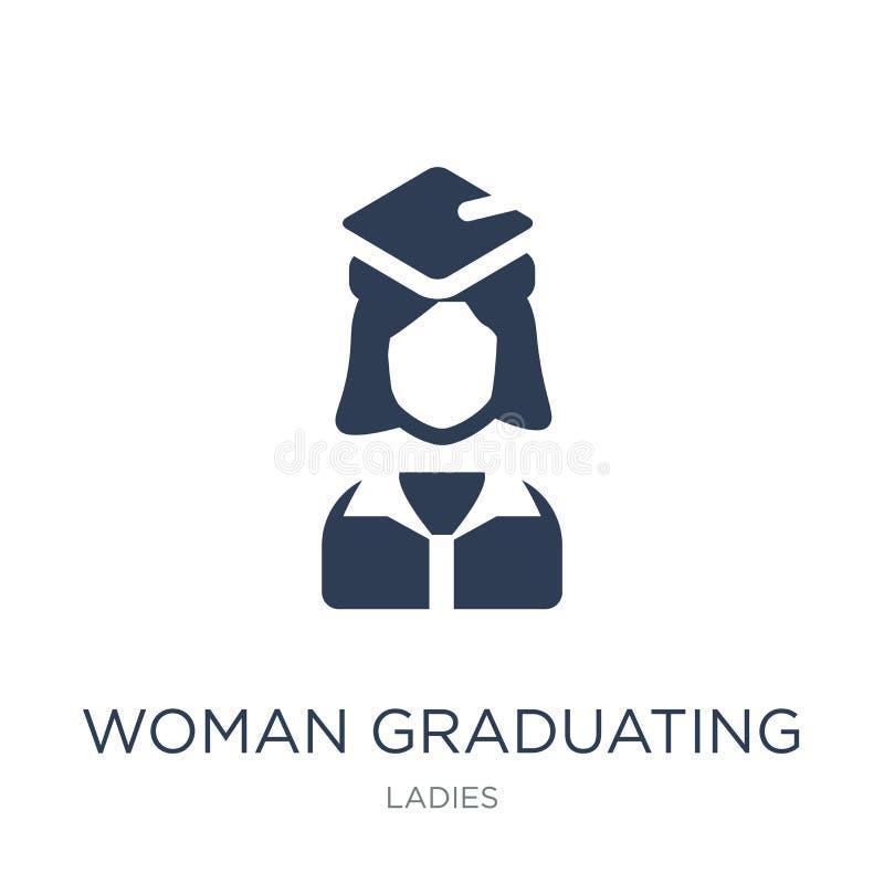Graduierende Ikone der Frau Graduierende Ikone modischer flacher Vektor Frau stock abbildung