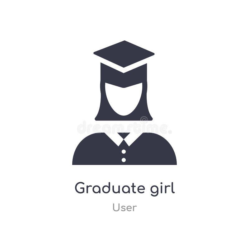 graduierte Mädchenikone lokalisierte graduierte Mädchenikonen-Vektorillustration von der Benutzersammlung editable singen Sie Sym stock abbildung