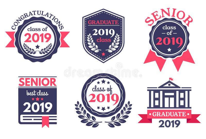 Graduierter ältere Schulausweis Graduierungstagemblem, graduiert Glückwunschausweise und Ausbildungsemblemvektor lizenzfreie abbildung
