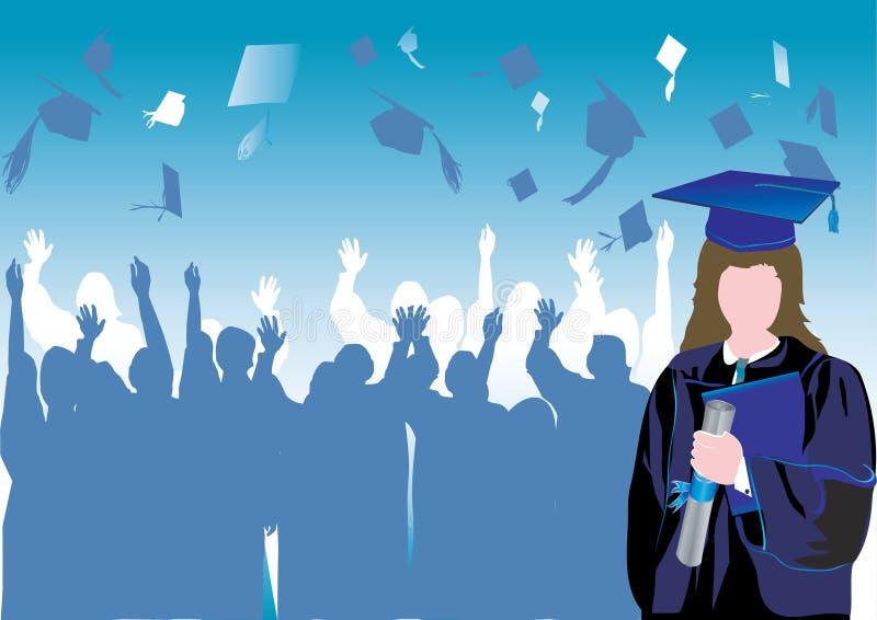 Graduiertes Mädchen im Schattenbild lizenzfreie abbildung