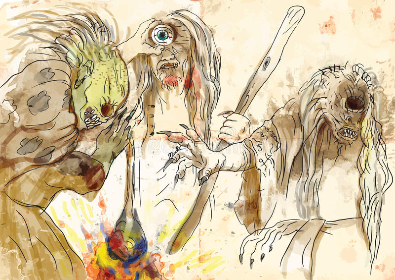 Graeae (Stygian häxor) stock illustrationer