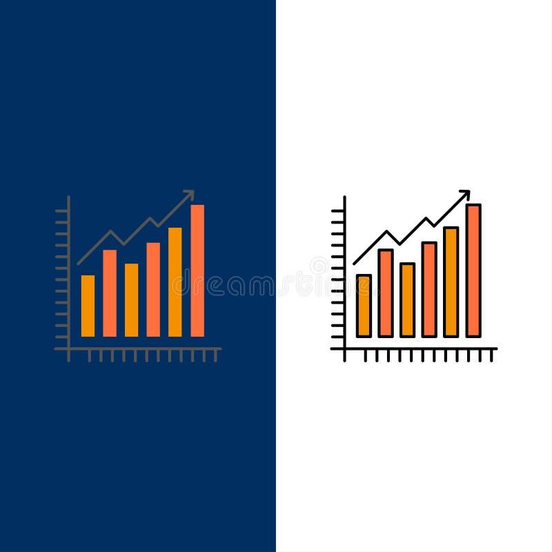 Graf Analytics, affär, diagram, marknadsföring, statistik, trendsymboler Lägenheten och linjen fylld symbol ställde in blå bakgru vektor illustrationer