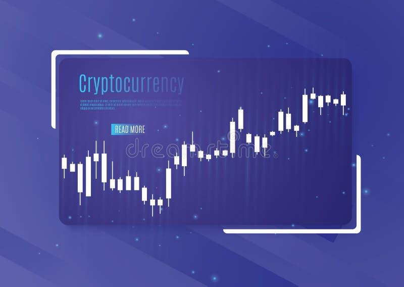 Graf av cryptocurrencyen diagram och analytics av kryptografi också vektor för coreldrawillustration stock illustrationer