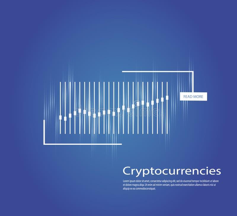 Graf av cryptocurrencyen diagram och analytics av kryptografi också vektor för coreldrawillustration royaltyfri illustrationer