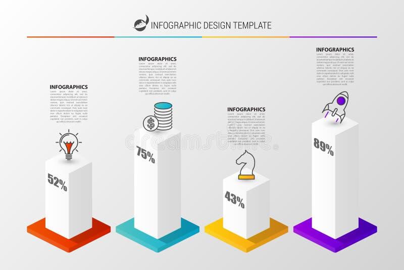 graf 3D för infographic modern mall för design vektor vektor illustrationer