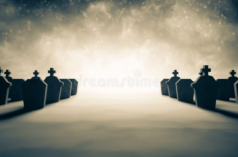 Graf in de begraafplaats vector illustratie
