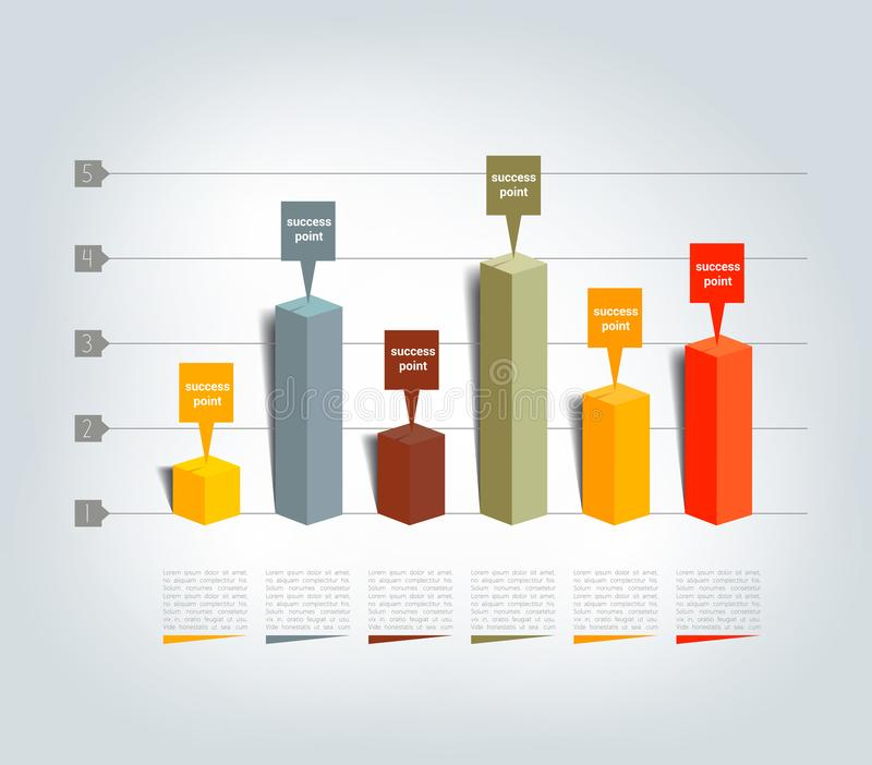 Graf diagram, 3D Infographics stock illustrationer