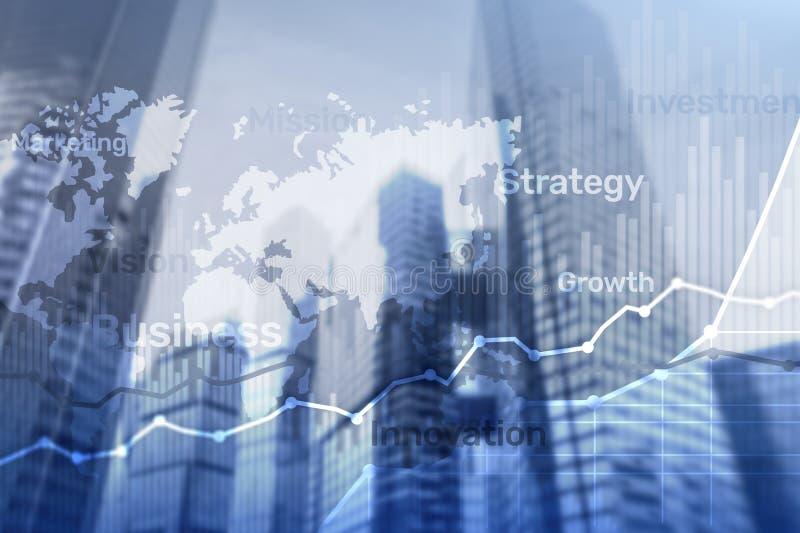 Graf, diagram och diagram för dubbel exponering för bakgrund för affär abstrakt Värld - bred översikt och Global affär och finans royaltyfri bild