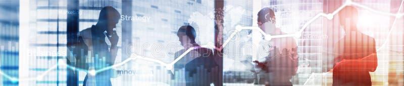 Graf, diagram och diagram för dubbel exponering för bakgrund för affär abstrakt Värld - bred översikt och Global affär och finans arkivbilder