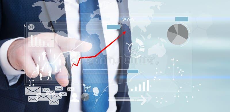 Graf för affär för entreprenörhand driftig på pekskärm royaltyfri bild