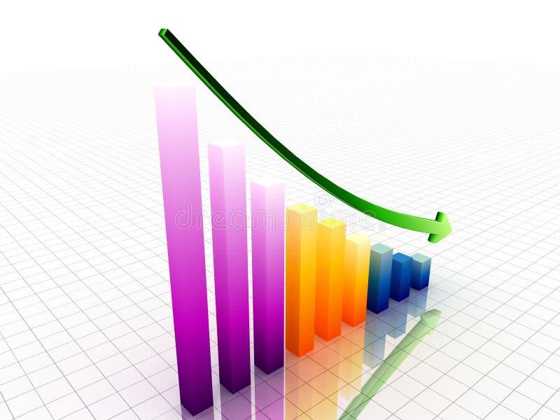 graf för decrease 3d royaltyfri illustrationer