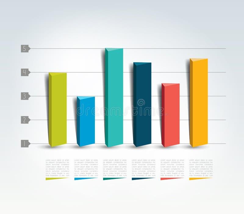 graf för design 3D Infographics diagram vektor illustrationer