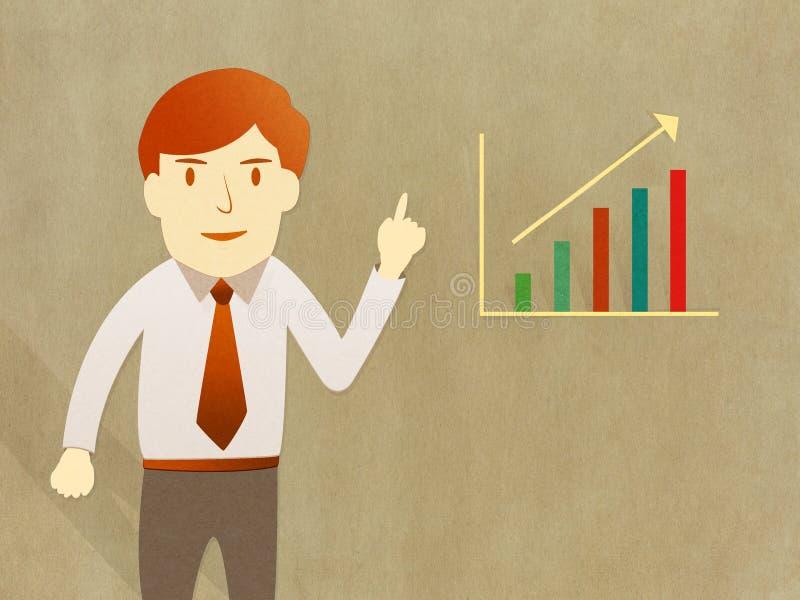 Graf för progress för tillväxt för present för affärsman vektor illustrationer