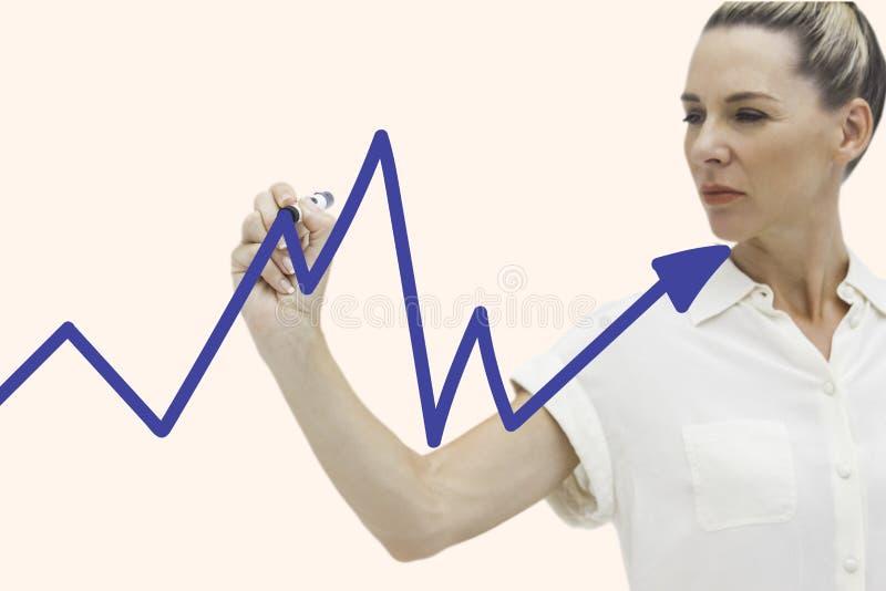Graf för teckning för affärskvinna på skärmen vektor illustrationer