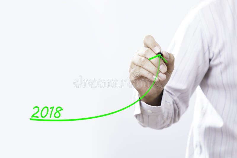 Graf för tillväxt för affärsmanhandhandstil för året 2018 royaltyfri foto