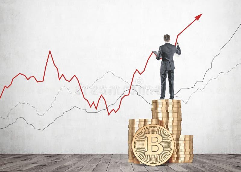 Graf för tillväxt för affärsmanteckningsbitcoin inomhus arkivfoton