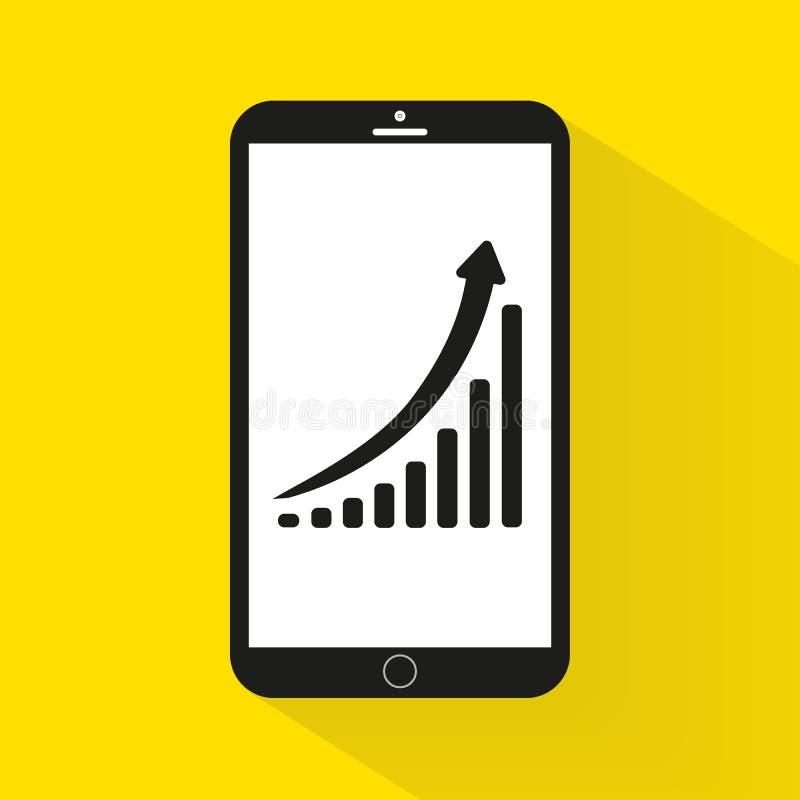 Graf för vertikal stång, diagram som föreställer tillväxtsymbolen i mobil royaltyfri illustrationer