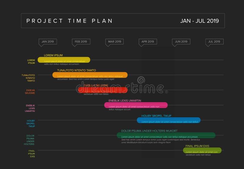 Graf f?r timeline f?r Gantt projektproduktion vektor illustrationer