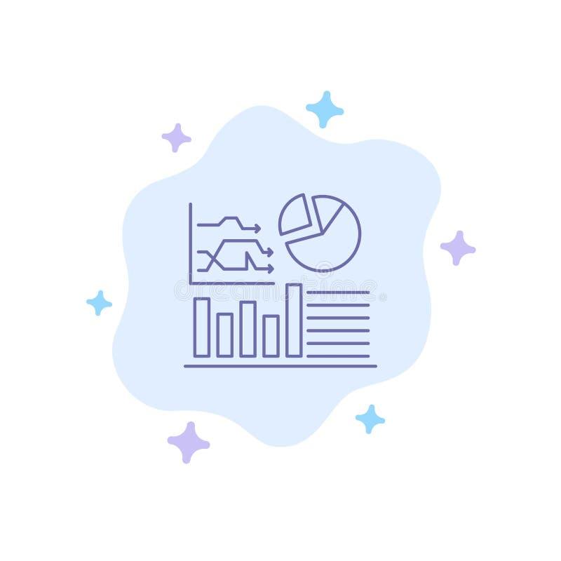 Graf framgång, flödesdiagram, blå symbol för affär på abstrakt molnbakgrund stock illustrationer