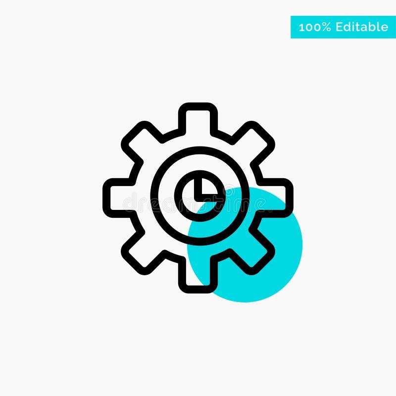 Graf marknadsföring, kugghjul som ställer in symbolen för vektor för punkt för turkosviktigcirkel stock illustrationer